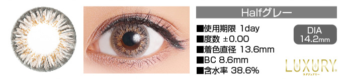 LUXURY 1day Halfグレー DIA14.2mm 使用期限1day 度数±0.00 着色直径13.6mm BC8.6mm 含水率38.6%