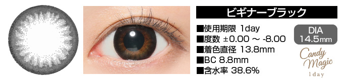 candymagic 1day BEGINNERブラック DIA14.5mm 使用期限1day 度数±0.00〜-8.00 着色直径13.8mm BC8.8mm 含水率38.6%