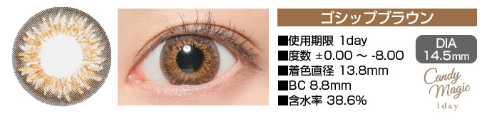 candymagic 1day GOSSIPブラウン DIA14.5mm 使用期限1day 度数±0.00〜-8.00 着色直径13.8mm BC8.8mm 含水率38.6%