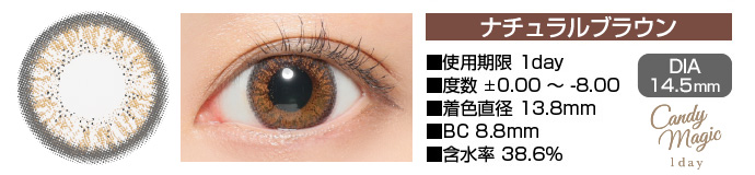 candymagic 1day NATURALブラウン DIA14.5mm 使用期限1day 度数±0.00〜-8.00 着色直径13.8mm BC8.8mm 含水率38.6%