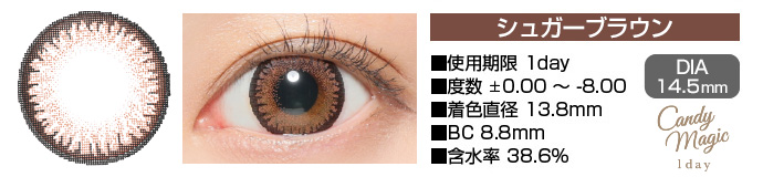 candymagic 1day SUGARブラウン DIA14.5mm 使用期限1day 度数±0.00〜-8.00 着色直径13.8mm BC8.8mm 含水率38.6%