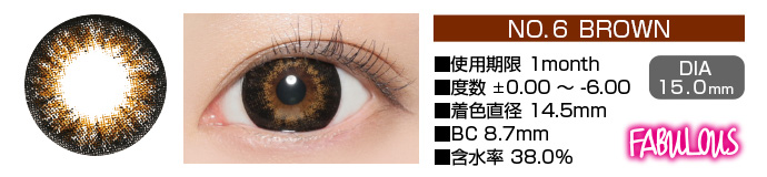 FABULOUS no6 BROWN 1month ブラウン DIA15.0mm 使用期限1month 度数±0.00〜-6.00 着色直径14.5mm BC8.7mm 含水率38.5%