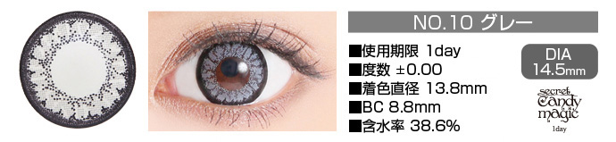 secretcandymagic 1day no10グレー DIA14.5mm 使用期限1day 度数±0.00 着色直径13.8mm BC8.8mm 含水率38.6%
