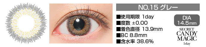 secretcandymagic 1day no15グレー DIA14.5mm 使用期限1day 度数±0.00 着色直径13.9mm BC8.8mm 含水率38.6%