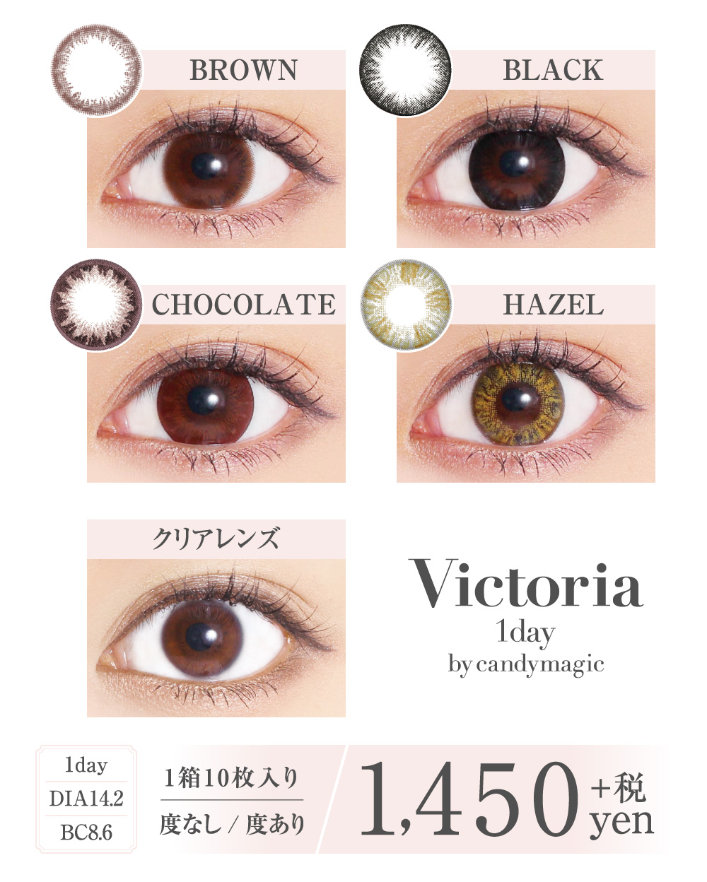Victoria 1day DIA14.2mm BC8.6mm 1箱10枚入り 度なし/度あり 1450円+税