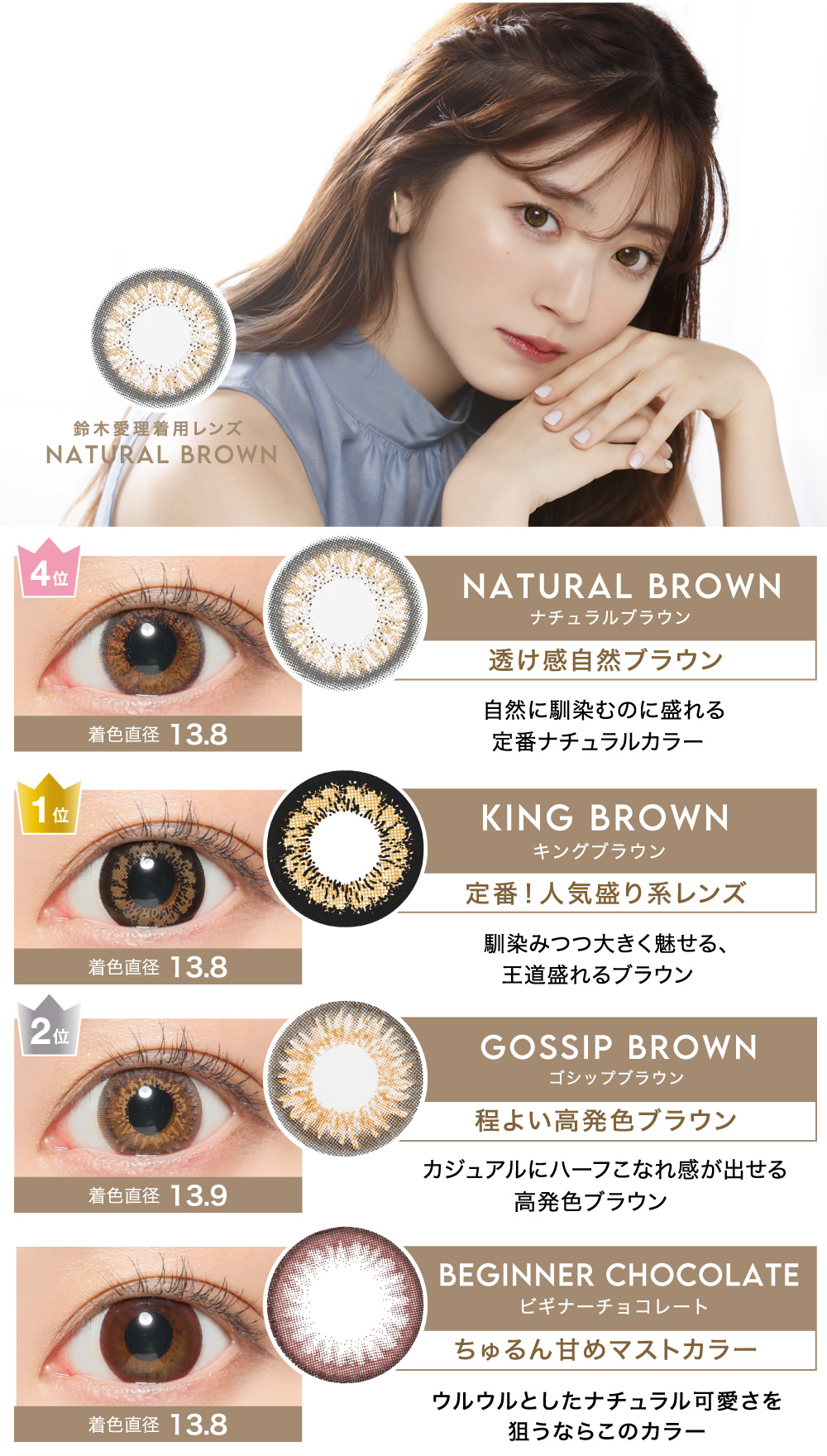 NATURAL BROWN / KING BROWN / GOSSIP BROWN / BEGINNER CHOCOLATE